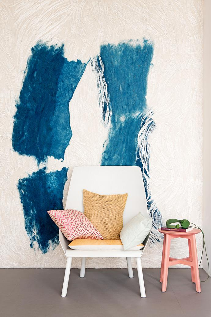 """A striking, textural wall carpet by Dutch designer [Claudy Jongstra](http://www.claudyjongstra.com/?utm_campaign=supplier/ target=""""_blank"""") is made from felt.   **Cushions** from [Ferm Living](http://www.fermliving.com.au/?utm_campaign=supplier/ target=""""_blank""""). Eugene **chair** from [e15](http://www.e15.com/?utm_campaign=supplier/ target=""""_blank"""")."""