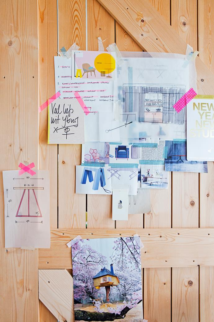 Christien uses the back of her sliding study door as a handy pinboard for drawings and cuttings of inspirational images.