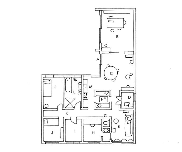 **FLOOR PLANS:** **A.** entrance **B.** study **C.** dining **D.** cosy box bed **E.** living area **F.** dining compartment **G.** W/C **H.** workspace **I.** spare room **J.** bedroom **K.** hallway **L.** bathroom **M.** kitchen
