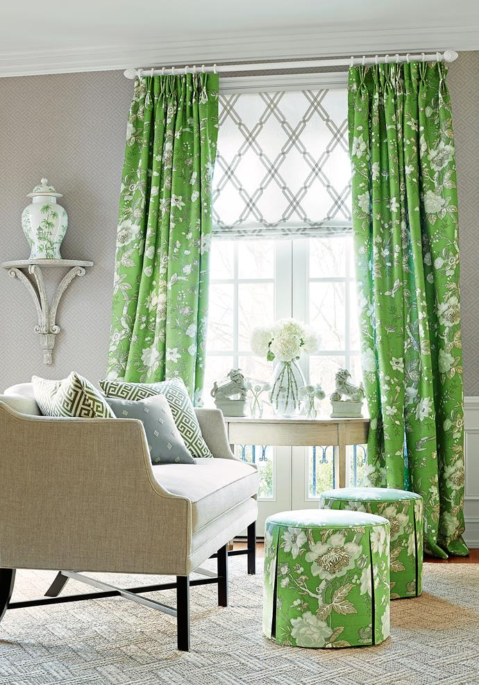 """Curtains and ottomans in Thibaut Nemour linen in Green, [Boyac](http://www.boyac.com.au/?utm_campaign=supplier/