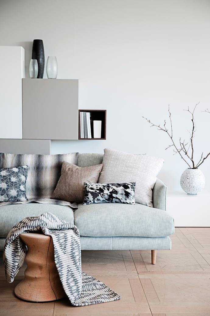 "Frankie three-seater sofa, [Fanuli](http://www.fanuli.com.au/?utm_campaign=supplier/|target=""_blank""), in Jarman cotton in Seamist, POA, [Elliott Clarke](http://www.elliottclarke.com.au/?utm_campaign=supplier/|target=""_blank"")."