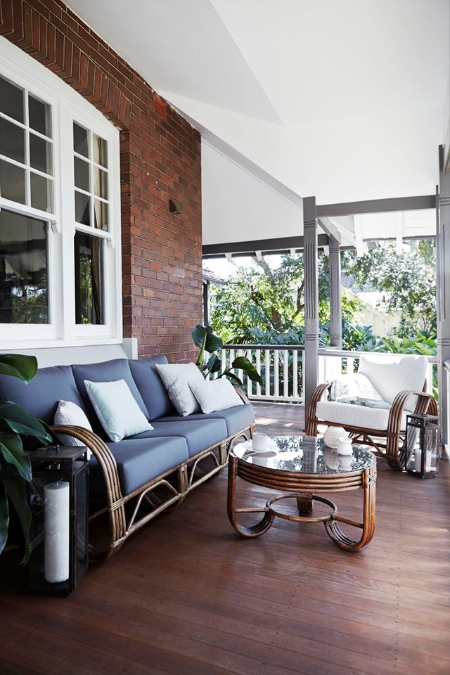 "[Style your balcony](https://www.homestolove.com.au/5-ways-to-style-your-tiny-balcony-12418|target=""_blank"") as an intimate entertaining space by arranging a couple comfortable chairs around a coffee table. Fluffy throws and plush cushions are a must."