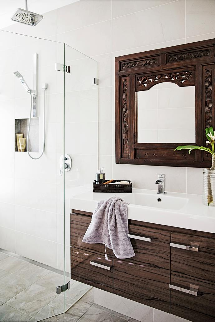 "Cathy loves adding plants to bathrooms. ""It softens the hard lines in the room,"" she says."