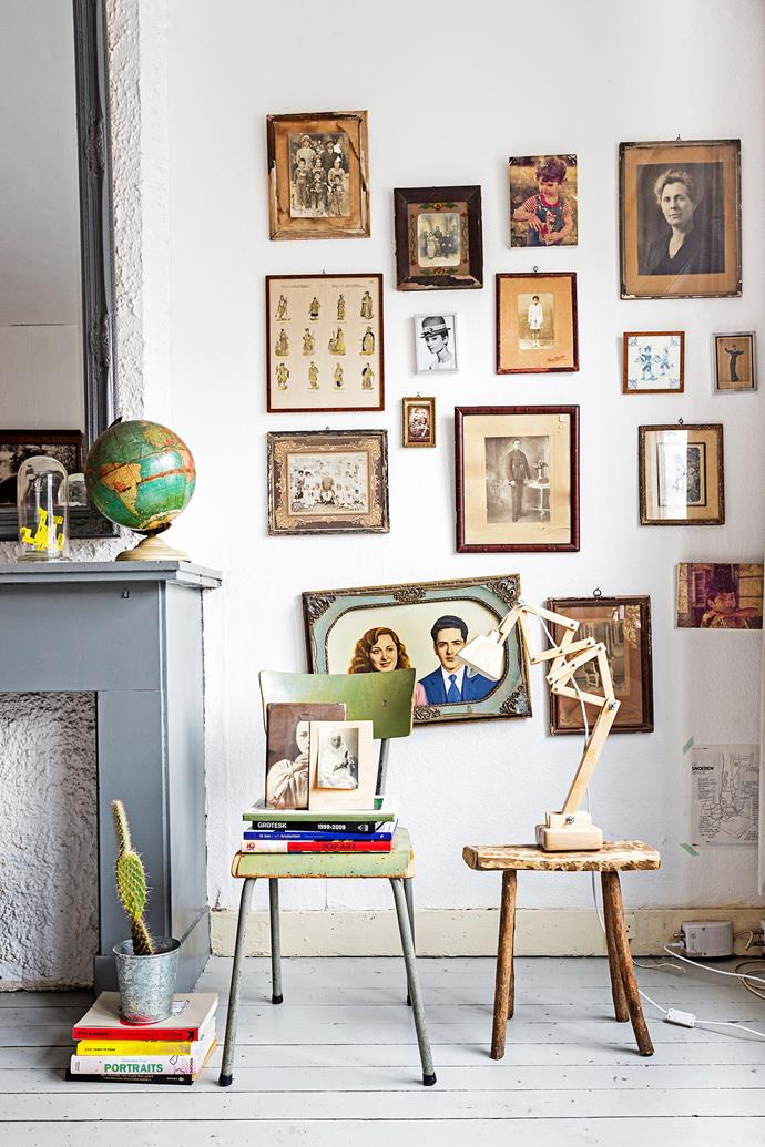 """The vintage collection of photographs in this [quirky home](http://www.homestolove.com.au/mennes-budget-city-apartment-makeover-2198/?utm_campaign=supplier/