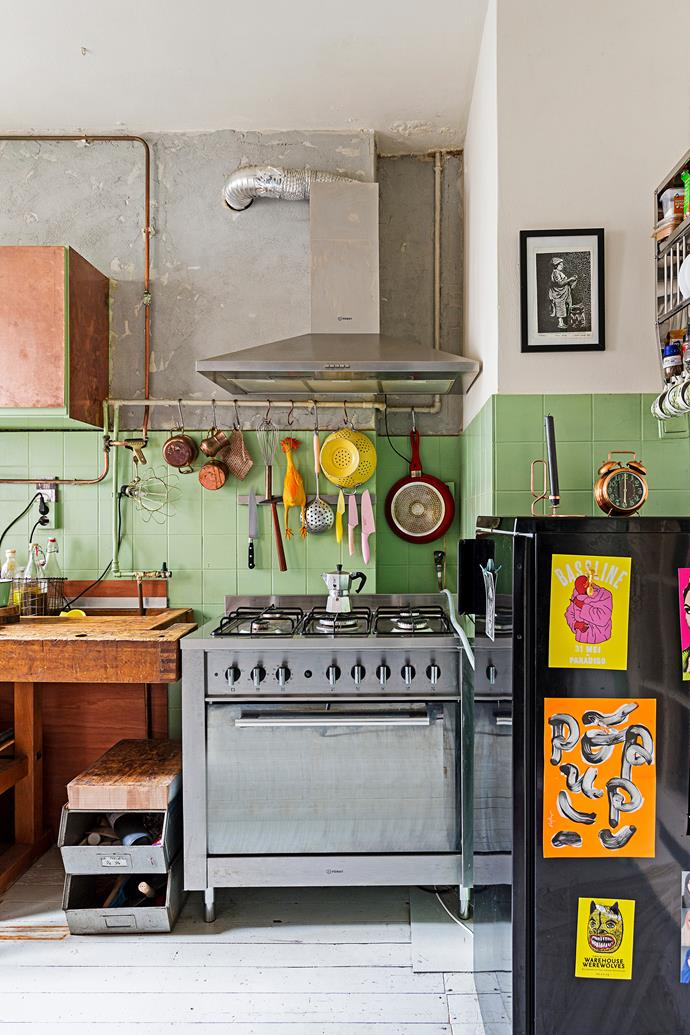 The stove in the kitchen was one of the very few items that Menne bought new.