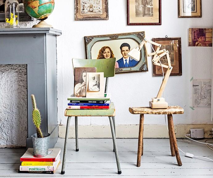 Eclectic vintage apartment vignette