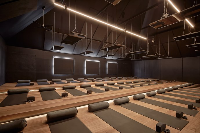 **Humming Puppy** When students enter the shala to practice there is an instant sense of calmness, much like a warm hug! Mats are numbered and the floors are tiered to provide a clear view of the teacher from every mat. Photo: Chris Daile.