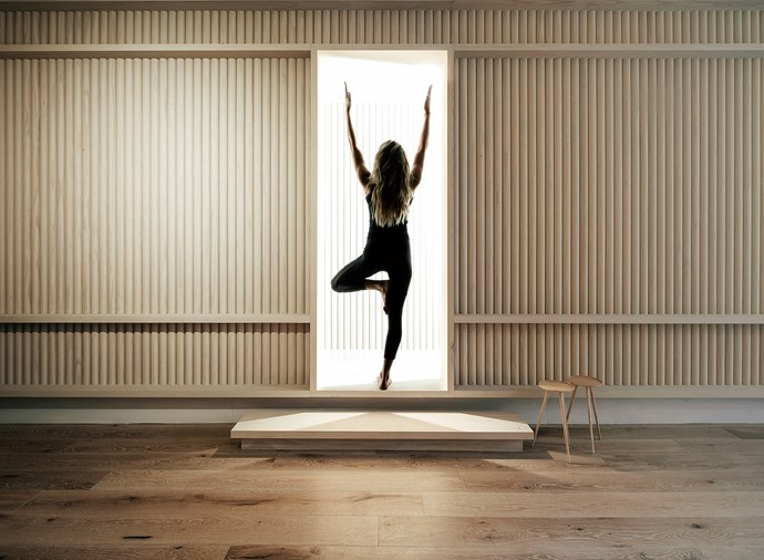 **Move Yoga** Blonde timber dowel detailing adds a quiet rhythm to the pared-back space. Photo: Earl Carter.