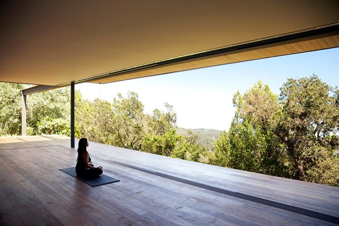 "**Sonoma Spa Retreat** According to [Residential Architect](http://www.residentialarchitect.com/awards/residential-architect-design-awards/sonoma-spa-retreat-sonoma-calif_o/?utm_campaign=supplier/|target=""_blank"") the 170 sqm structure includes a yoga and meditation studio, a steam room, changing rooms, and a refreshment bar. The spaces are organized on a wood deck surface that projects out over the landscape. Photo: Chris Gramly."