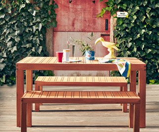 Wooden bench and table set from Freedom