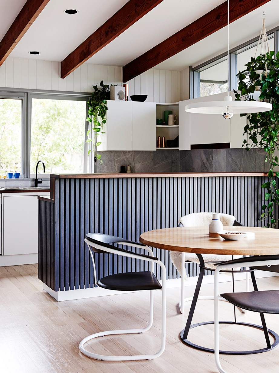 "This [1960s beach house](https://www.homestolove.com.au/gallery-nina-and-ryans-modernist-cottage-revamp-2221|target=""_blank"") on Victoria's Mornington Peninsula has been transformed into a modernist masterpiece. Floor-to-ceiling windows, timber panelling and a raked ceiling pay homage to the home's heritage while a Scandi-meets-retro interior has refreshed the home tenfold."