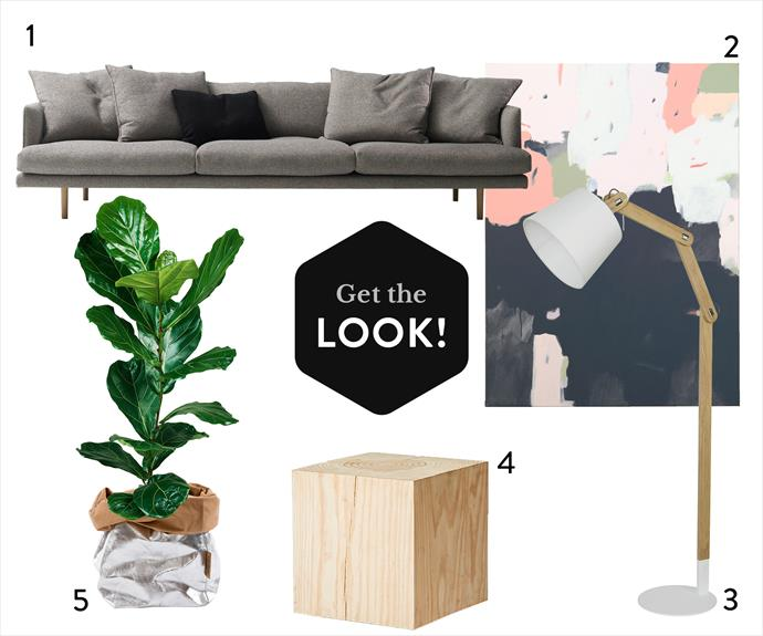 "**GET THE LOOK:** **1.** Nook 3-seat sofa, from $4611.20, [Jardan](http://www.jardan.com.au/?utm_campaign=supplier/|target=""_blank""). **2.** *Sheltered* limited-edition art print by Sarah Kelk, $110 for A3, [Modern Times](http://moderntimes.com.au/?utm_campaign=supplier/