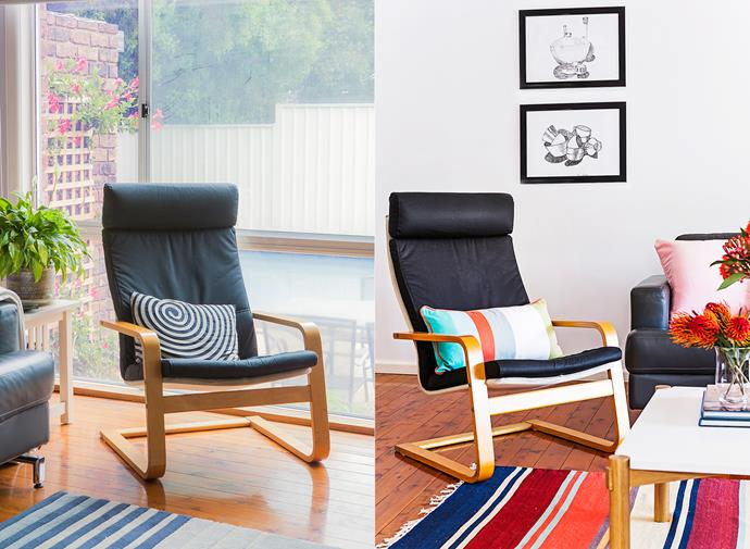 **BEFORE AND AFTER**: Two black pen drawings by Sarà's mother were moved to a spot that shows them off. Colourful cushions reflect the vibrant hues in the artwork within the room and in the rug.