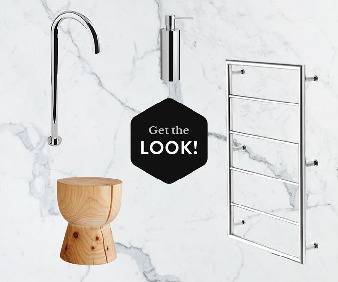 "**CLOCKWISE, FROM TOP LEFT:**Luna **floor-mount bath outlet** (No WELS rating) in Chrome, $445, Free Myhill wall-mounted soap dispenser, $150, Snug complete 500 **heated towel ladder**, $1395, all from [Rogerseller](http://www.rogerseller.com.au/?utm_campaign=supplier/|target=""_blank""). Organic grain Radiatoa pine Eggcup **stool**, $550, from [Mark Tuckey](http://www.marktuckey.com.au/?utm_campaign=supplier/