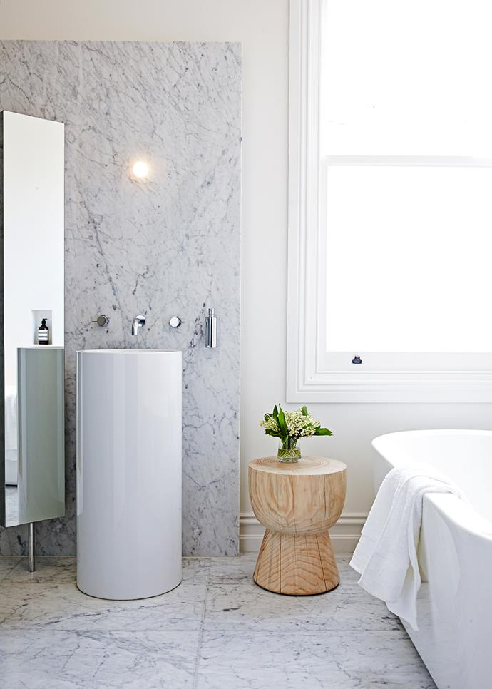 "Alape WT 400 round **washstand** in White, $2333.99, from [Reece](http://www.reece.com.au/?utm_campaign=supplier/|target=""_blank""). Bianca Carrara C **marble** (for wall and floor), from $154 a sq m, from [Signorino Tile Gallery](http://www.signorino.com.au/?utm_campaign=supplier/