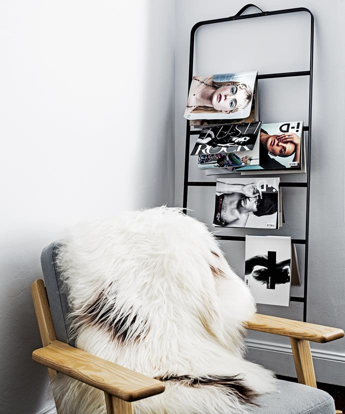 An Icelandic sheepskin from Mr & Mrs White, draped over a chair in a living room corner, adds warmth and texture to the scheme.