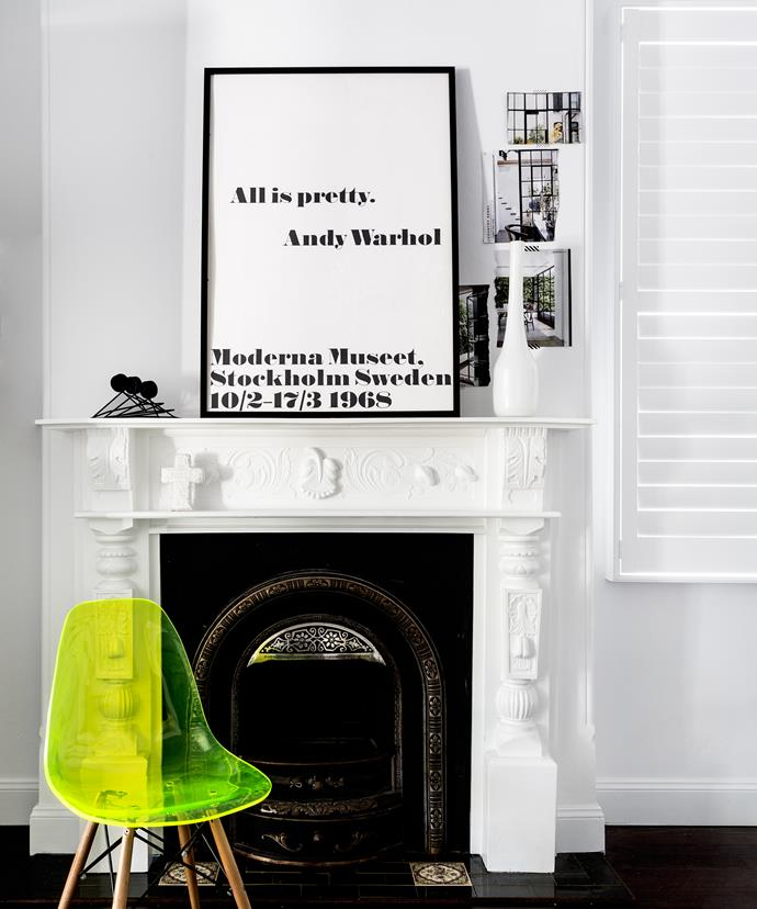 "It may hold onto elements from the past but, this house embraces the modern with its colour palette of black, white and neon. Here, the fluoro pop comes in the form of a Replica Eames DSW side chair in Fluoro Green from [Matt Blatt](http://www.mattblatt.com.au/?utm_campaign=supplier/|target=""_blank"")."