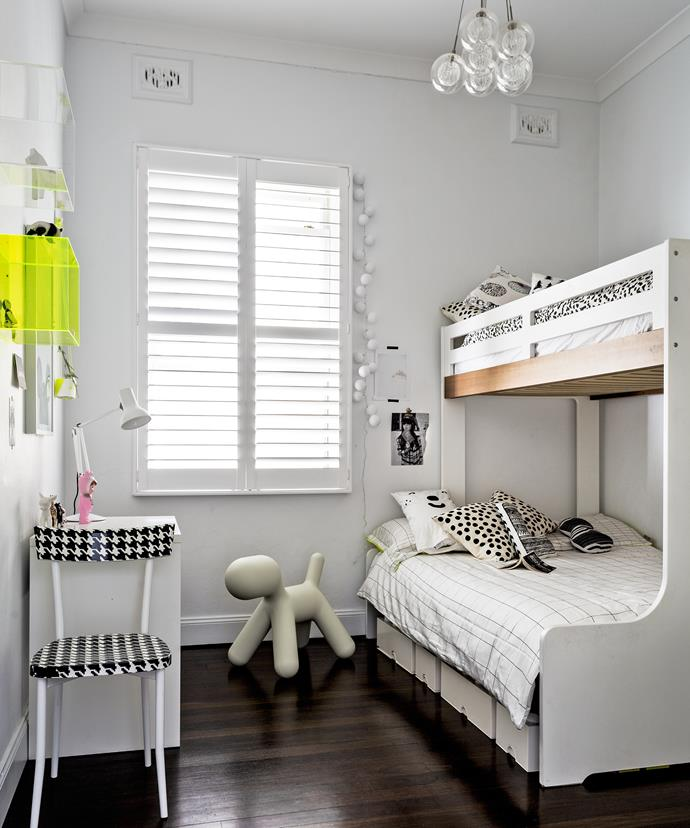 A bunk bed is just the thing for a room with high ceilings, but limited floor space.