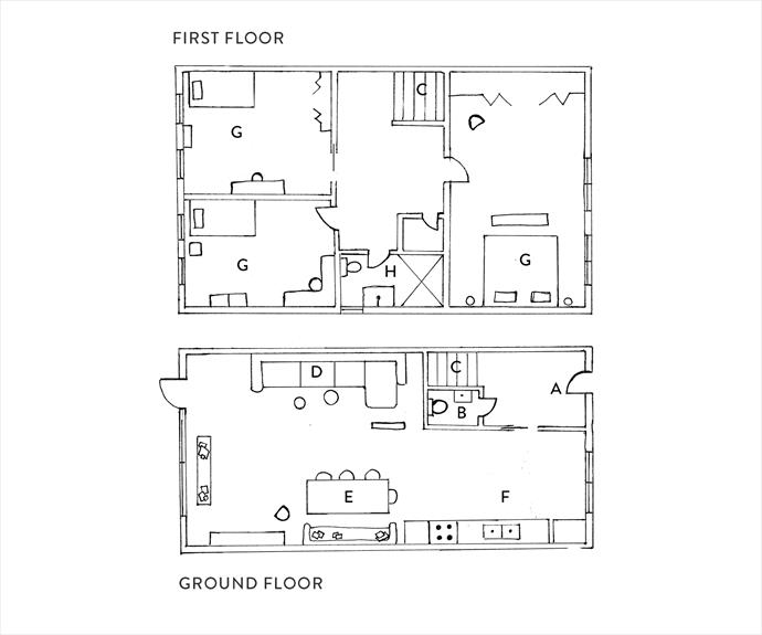 **FLOOR PLANS:** **A.** entrance **B.** toilet **C.** stairs **D.** living area **E.** dining **F.** kitchen **G.** b¬-ed **H.** bath