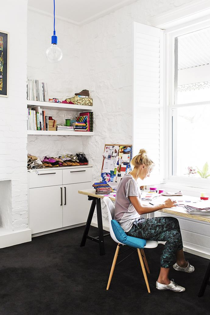 "Georgia has converted the front bedroom into a studio space where she can work on her designs for [Hobes](http://www.hobes.com.au/?utm_campaign=supplier/|target=""_blank"")."