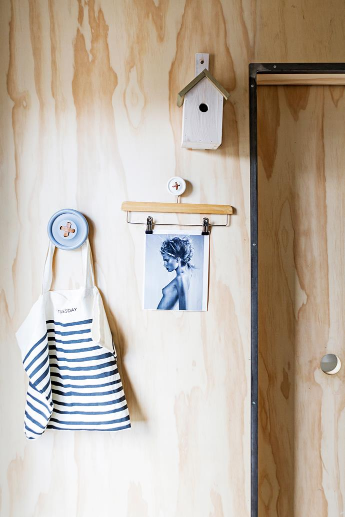 """Everyday objects are displayed on cute Button hooks from [HK Living](http://www.hkliving.com.au/?utm_campaign=supplier/ target=""""_blank"""")."""
