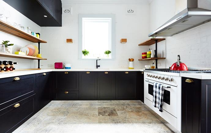 "The open shelving adds industrial flair. David sketched what they wanted and Angie found a ready-made version to match: a Conveyor shelf unit from [Freedom](http://www.freedom.com.au/?utm_campaign=supplier/|target=""_blank"").  Black Subline 400 undermount **sink** and Linus-S **mixer tap**, both from [Blanco](http://www.blanco-australia.com/?utm_campaign=supplier/