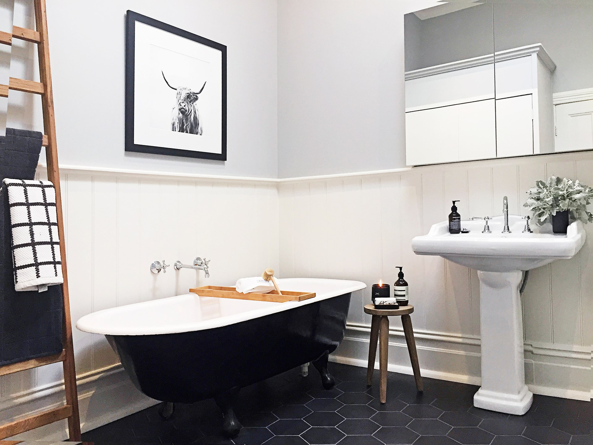 The bathroom in this [Victorian cottage](http://www.homestolove.com.au/gallery-michelles-victorian-cottage-renovation-2255) combines contemporary style with old world charm for a timeless appeal. *Photo: homes+*