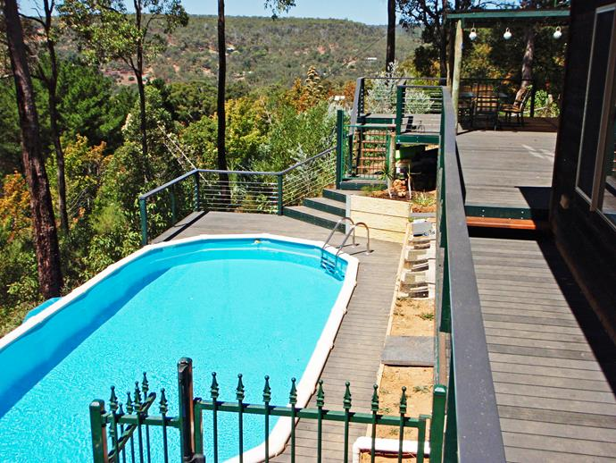 Save cash and install a partially in-ground pool – perfect for hilly spots.