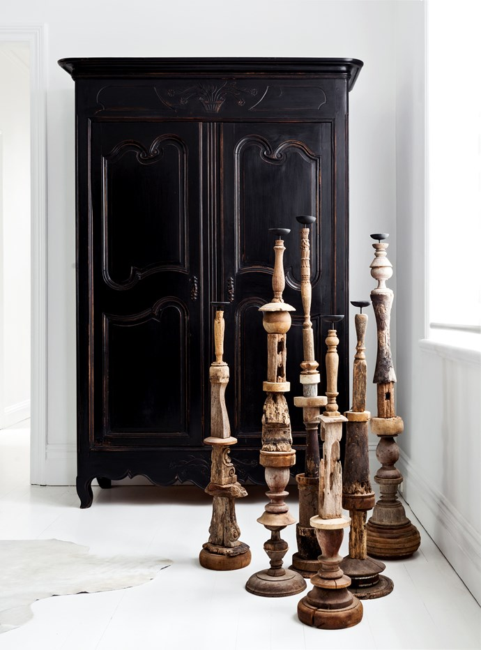 "Timber **candlesticks** from [Les Interieurs](http://www.lesinterieurs.com.au/?utm_campaign=supplier/|target=""_blank""). **Armoire** was repainted in black by interior designer Pamela."