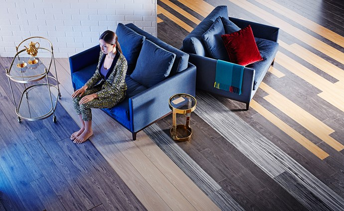 """The world is your oyster when it comes to floorboards. Washed finishes can create a fresh, subtle look.  From left, Provincial Lane laminate in Grey Oak from [Choices Flooring](http://www.choicesflooring.com.au/?utm_campaign=supplier/ target=""""_blank""""). Plantino Engineered Oak timber in Corsican Grey from [Choices Flooring](http://www.choicesflooring.com.au/?utm_campaign=supplier/ target=""""_blank""""). Tarkett laminate in Black/White from [Bunnings](http://www.bunnings.com.au/?utm_campaign=supplier/ target=""""_blank""""). Walnut laminate in 4 Whitewashed Oak and 5 Modena Oak from [Formica](http://www.formica.com/en/us/?utm_campaign=supplier/ target=""""_blank"""")."""