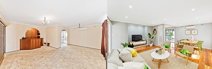 **BEFORE AND AFTER** The space-wasting archway was ripped out to open up the joining areas and let in more light.