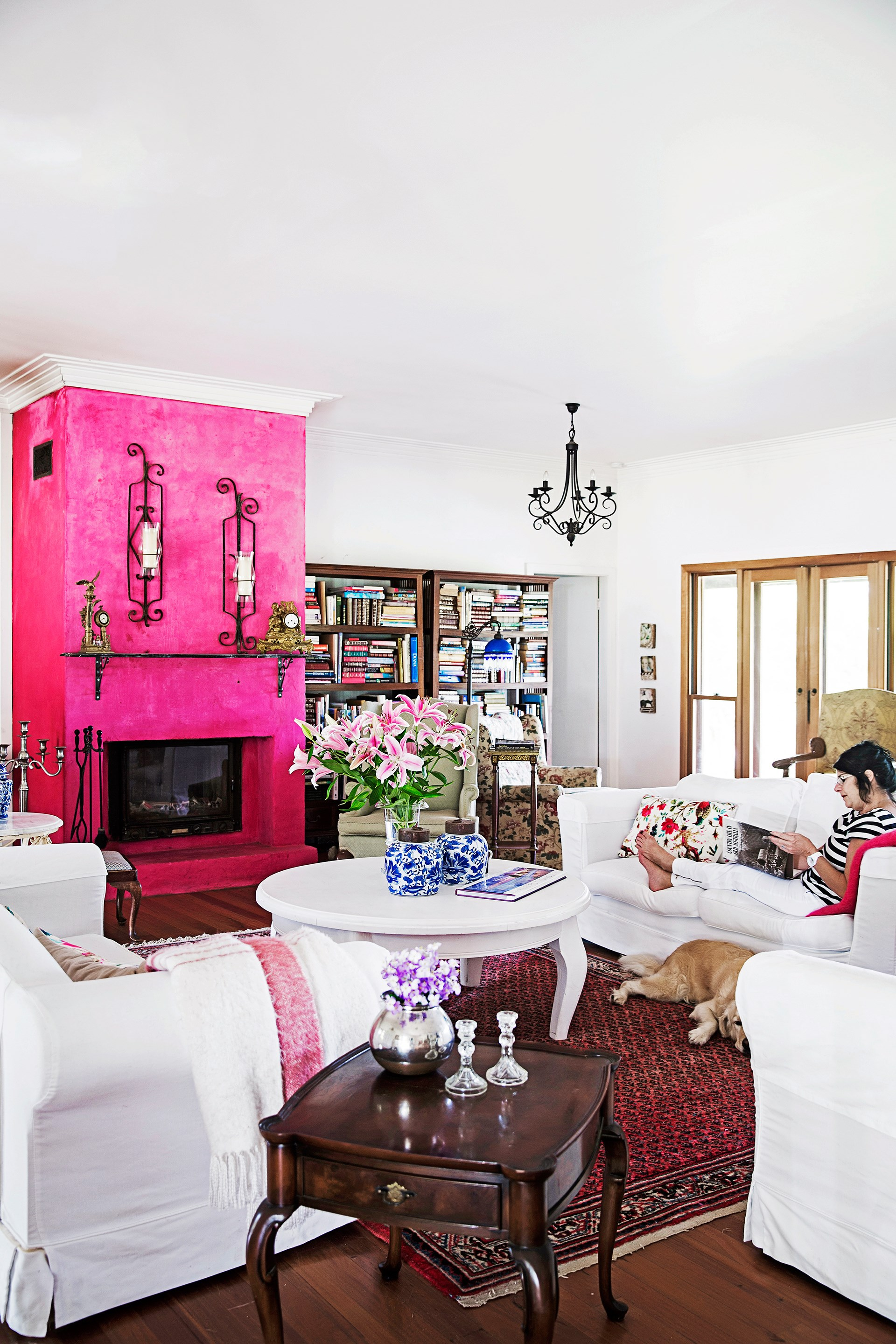 "The bright pink feature wall in [Lorraine's French provincial-style country home](http://www.homestolove.com.au/gallery-lorraines-french-provincial-style-country-home-2281|target=""_blank"") adds a bold feminine touch. Photo: James Henry / *homes+*"
