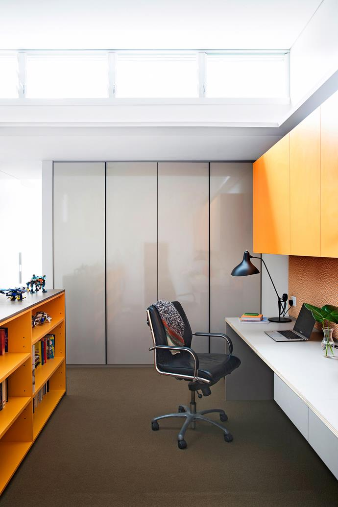 "Laminex joinery in Hamish's favourite colour – orange - brings a touch of fun and frivolity to the office space.  **Lamp** from [Spence & Lyda](http://www.spenceandlyda.com.au/?utm_campaign=supplier/|target=""_blank"")."