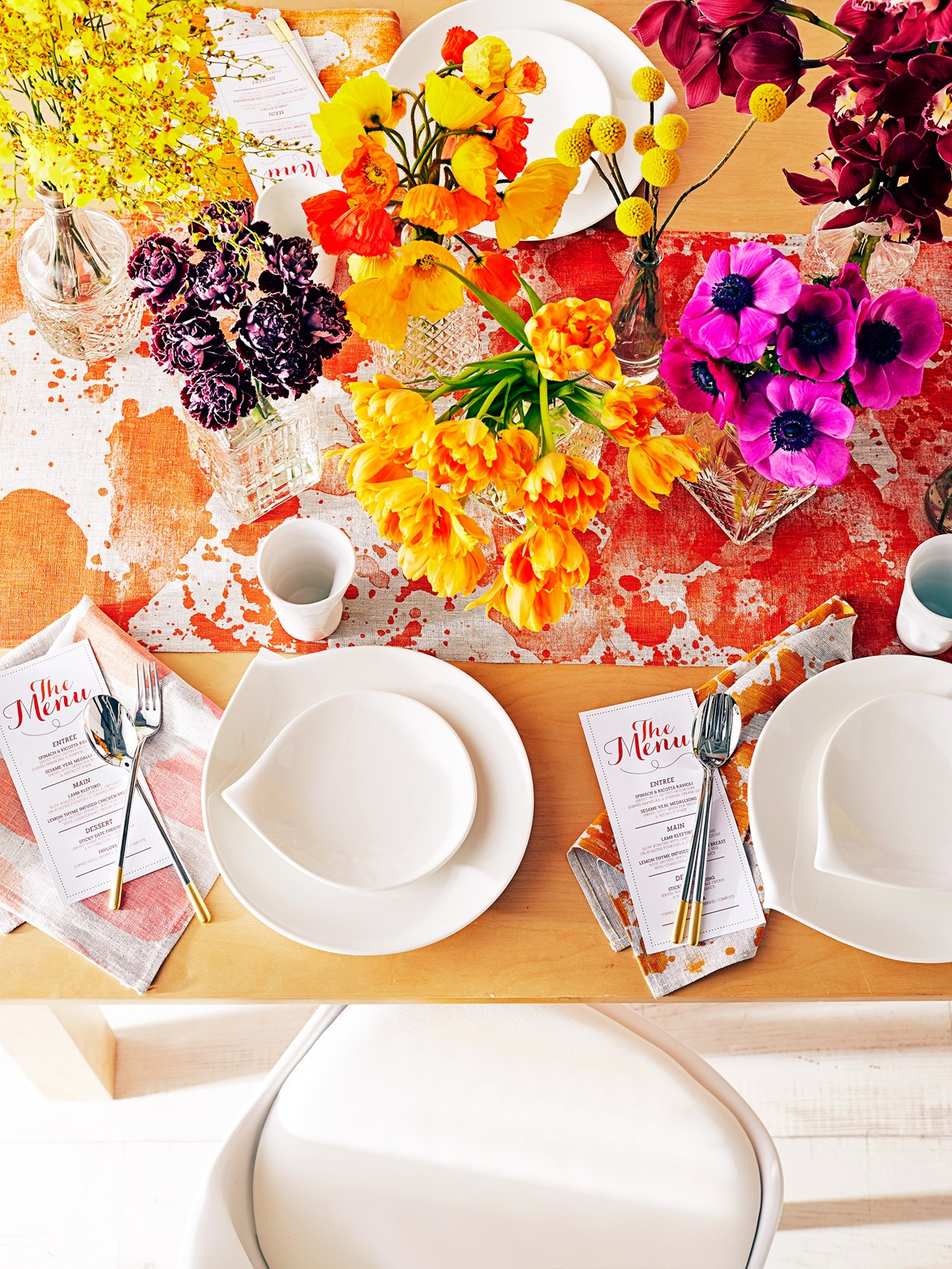Bright florals and tableware are perfect for this time of year. Photo: Brett Stevens | Styling: Jackie Brown