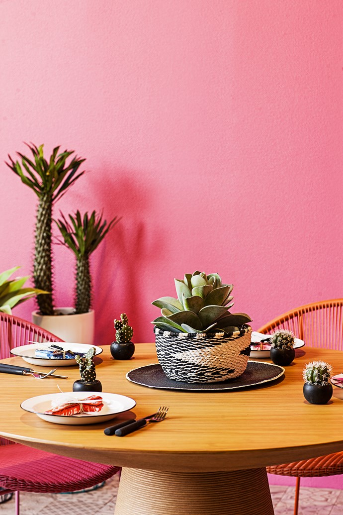 "The requisite mood is warm and inviting, dependent on rich and full design elements, intricate details and textures. Choose pieces in bold and vibrant hues that create a fiesta of colour. Large paper **pot** in Black/White, large artificial **plant** and Spiral **placemat** from [Typo](http://cottonon.com/AU/shop-by-brand/typo/?utm_campaign=supplier/|target=""_blank"")."