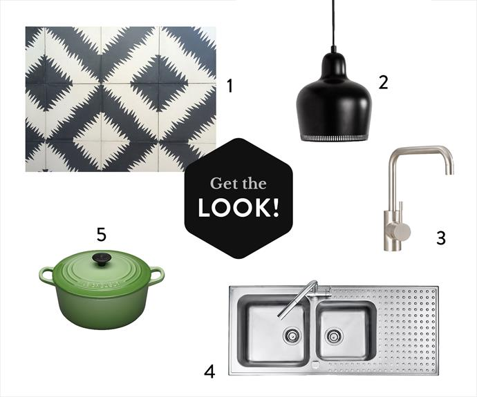 """**1.**Zigzag On One **cement tiles** in Kohl/Milk, $286 a sq m, from [Onsite](http://www.onsitesupply.com/?utm_campaign=supplier/target=""""_blank""""). **2.** Artek A330s **pendant light** in Black, $575, from [Anibou](http://www.anibou.com.au/?utm_campaign=supplier/target=""""_blank""""). **3.** A69.08.V2 Icon **sink mixer** (WELS 5*) in Brushed Platinum, $634, from [Astra Walker](http://www.astrawalker.com.au/?utm_campaign=supplier/