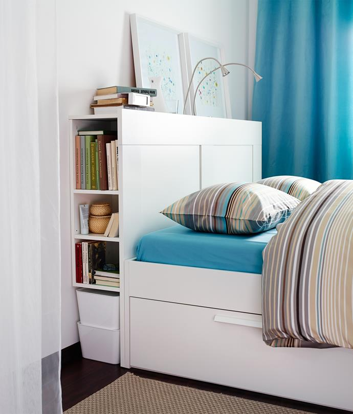 """**2. Brimnes from IKEA** Incorporating a nifty storage compartment, this combined bedhead/shelving system can be set at three heights. Comes in double or queen sizes, $200-$250, [Ikea](http://www.ikea.com.au/?utm_campaign=supplier/