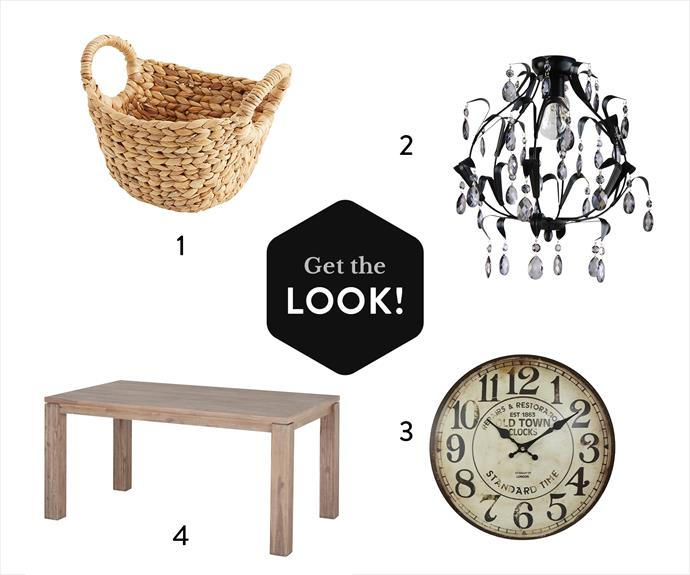 "**1.** Water Hyacinth Nick Nack basket, $6, from [Target](http://www.target.com.au/?utm_campaign=supplier/|target=""_blank""). **2.** Geneve DIY chandelier in Black, $119, from [Beacon Lighting](http://www.beaconlighting.com.au/?utm_campaign=supplier/