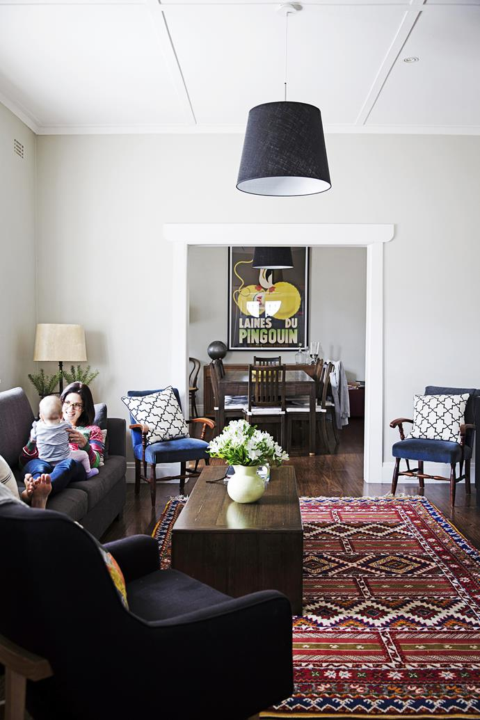 The more formal living room flows through from the dining area – it's where the adults can relax in the evening.