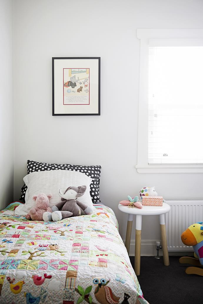 Matilda's handmade quilt and Babar picture were gifts from Claire and Oliver's mothers.