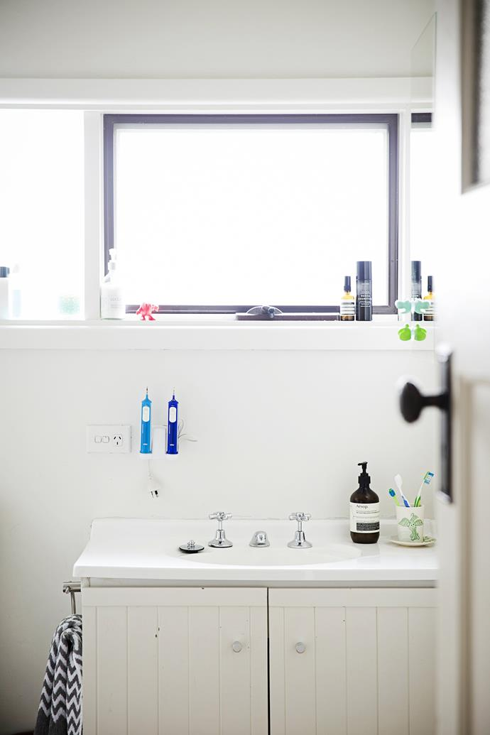 """The couple gave the bathroom a stylish update with a vanity from [Reece](http://www.reece.com.au/?utm_campaign=supplier/