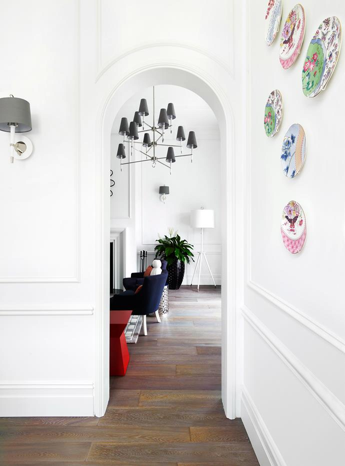 "Architectural detailing, such as arches, panelling, pillars, cornices and mouldings, give the home a sense of timelessness and a French accent, as do elements like chandeliers and wall sconces. **Archways** from [AllPlasta](http://www.allplasta.com.au/?utm_campaign=supplier/|target=""_blank""). **Panelling** from [Classic Architraves & Skirting](http://www.classicarchitraves.com.au/?utm_campaign=supplier/