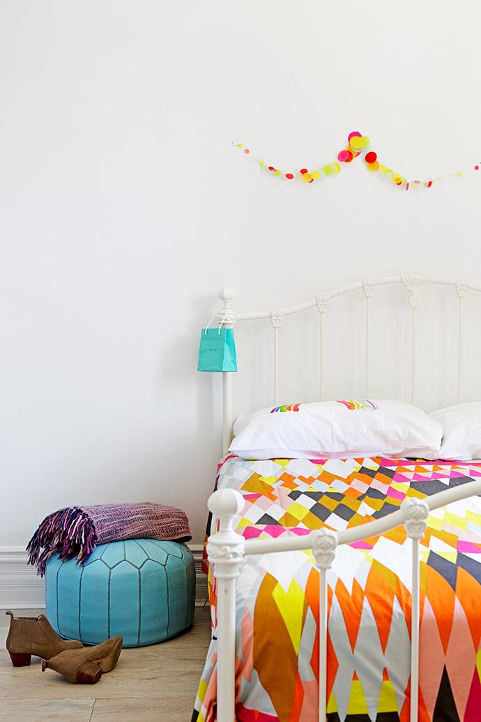"""The neon colours of the Kip & Co quilt are set off by [Third Drawer Down](http://www.thirddrawerdown.com/?utm_campaign=supplier/