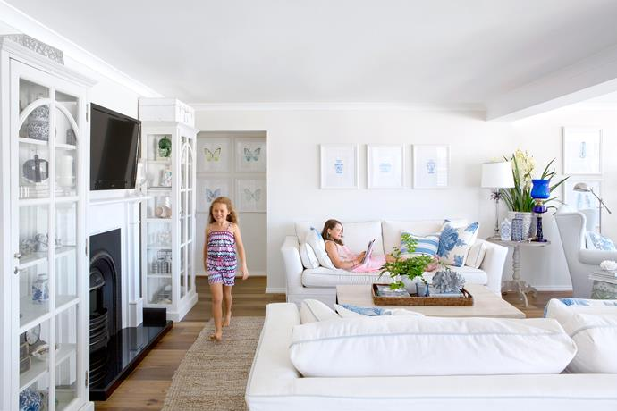 Indianah (left) and Dakotah chill out in one of several casual living spaces.
