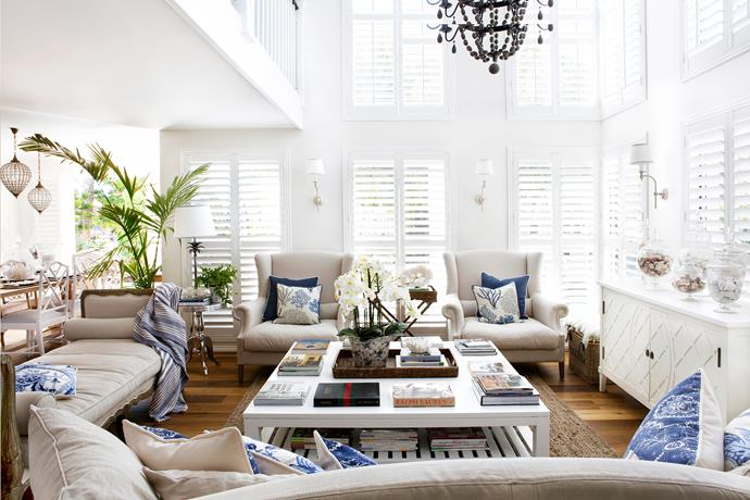 "Against banks of white shutters and oak flooring, Natalee deploys an ever-changing array of favourite pieces.   Custom-made **armchairs**, **daybed** and **cushions**, [Indah Island](http://www.indahisland.com/?utm_campaign=supplier/|target=""_blank""). **Coffee table** and **hamper**, [Restoration Hardware](https://www.restorationhardware.com/?utm_campaign=supplier/
