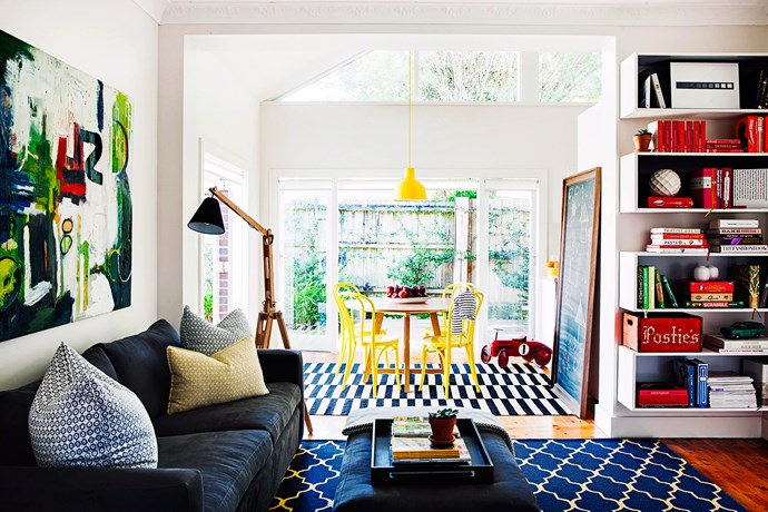 """Ample storage is one of the hallmarks of a great family room. In this Sydney home, custom-designed shelving keeps books and toys in order.   **Rug** from [Armadillo&Co](http://armadillo-co.com/?utm_campaign=supplier/