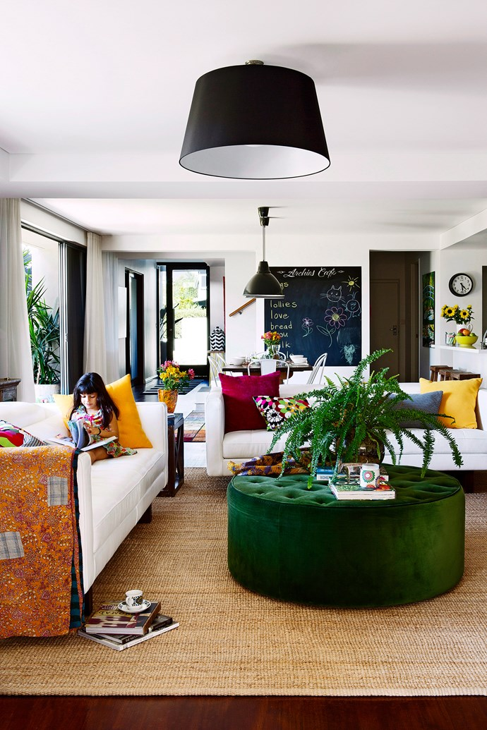 """A family room can carry off a vibrancy that a more formal living space can't. Situated just off the kitchen and dining area, the colourful family zone of this Perth home has a delightfully casual feel.   Kelvin Giormani **sofas** from [Contempo](http://www.contempofurniture.com.au/?utm_campaign=supplier/