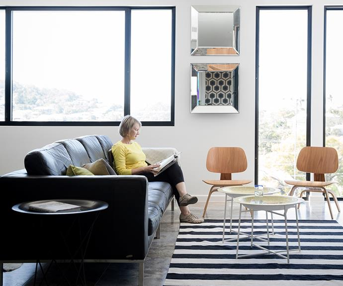 """Deryn has kept this room contemporary with a standout rug from [Target](http://www.target.com.au/?utm_campaign=supplier/