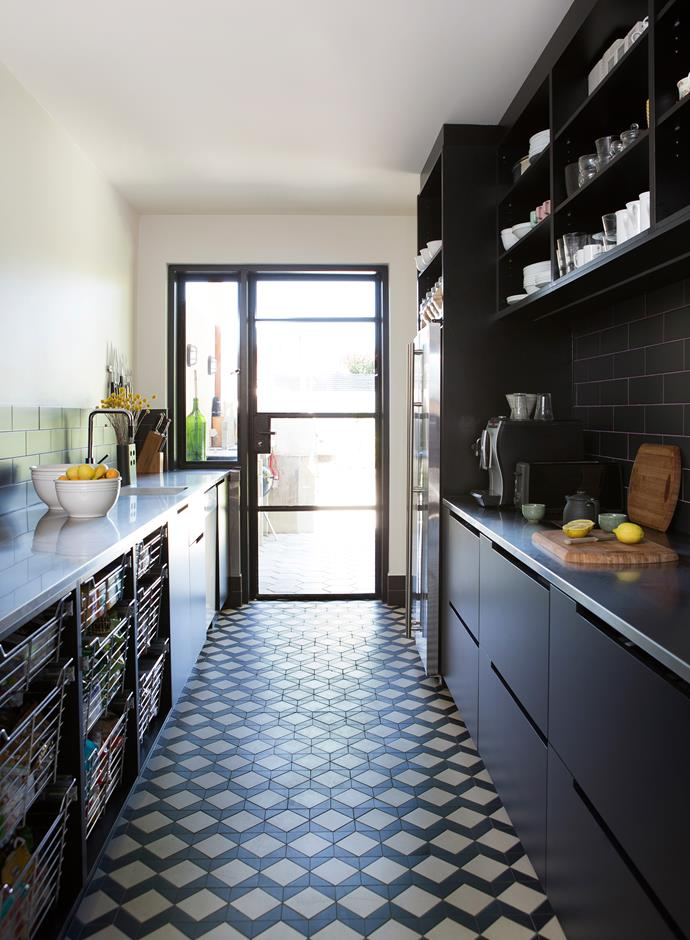 The hidden scullery, where food is prepared and dishes are done. The floor, in both kitchen and scullery is custom-laid with Winkelman tiles, traditionally used to tile the verandahs of Adelaide period homes. Photo: James Knowler