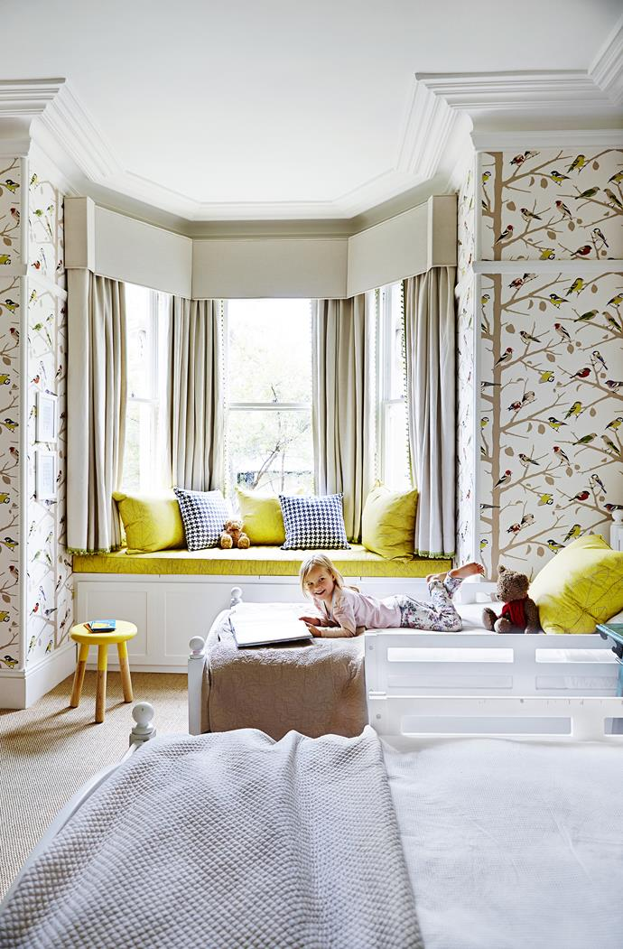 "Birds are a recurring theme in daughter Ella's bedroom, and they keep popping up in different forms throughout the house as well. **Stool** from [Domayne](http://www.domayneonline.com.au/?utm_campaign=supplier/|target=""_blank""). A-Twitter **wallpaper** from [Orient House](http://www.orienthouse.com.au/?utm_campaign=supplier/